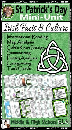 3-Day mini-unit with lesson materials to study Irish facts and culture in honor of St. Patrick's Day. Fun and cross-curricular learning (Common Core History and ELA) about Irish culture and history - it's interesting and CCSS-based year round! Informational Reading, Map Analysis, Color-Coding, Summarizing, Categorizing, Design, and more!