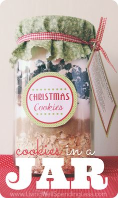 Not all homemade gifts require hours in the kitchen!  This easy cookie mix in a jar makes a fabulous and frugal gift for anyone on your list. Include a new cookie scoop or oven mitt to make it even more special!
