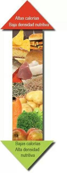 Altas calorías - baja densidad nutritiva vs. Bajas calorías - alta densidad nutritiva