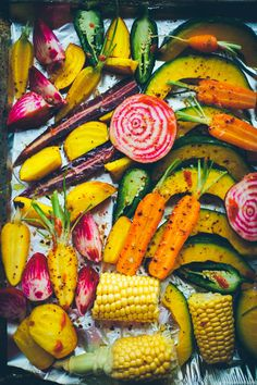 I like vegetables that are interesting. I don't know why I get so excited about purple carrots, striped beets and multicolour corn. Go figure....
