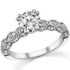 Round Moissanite Antique Engagement Ring - Wedding inspirations