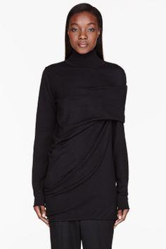 THAMANYAH Black Merino wool draped shoulder turtleneck