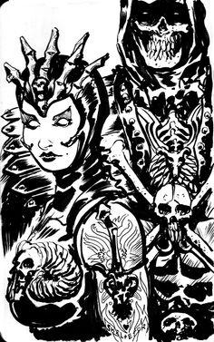 MOTU Skeletor + Evil-Lyn sketch by francesco-biagini.deviantart.com on @deviantART