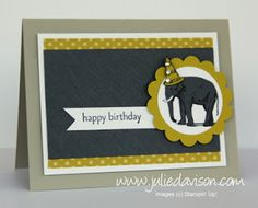 Julie's Stamping Spot -- Stampin' Up! Project Ideas Posted Daily: Birthday Favorite: Chevron Elephant Card