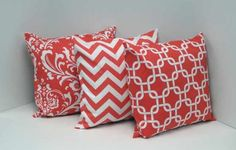 Coral pillows from etsy so GORG. Also have matching curtains, going to order some of these for my new living room, i love pinterest