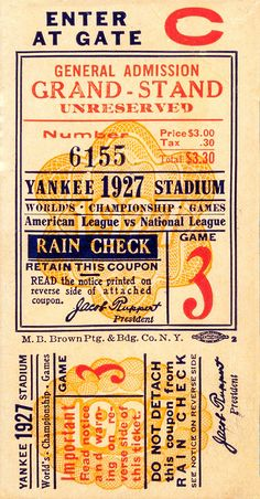 1927 Yankees World Series Ticket Vintage Baseball Poster Wall Art beautiful giclee reproduction print on fine paper that will not fade. Available in different sizes, unframed or framed in black matte wood frame. Custom sizes available. Vintage Advertising Posters, Vintage Advertisements, Vintage Posters, Vintage Graphic Design, Vintage Type, Vintage Music, Vintage Room, Vintage Kitchen, Vintage Pink