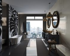 Urban jungle with a modern twist: bathroom goals! bathroom design/home decor/city living/dark interiors/glass sinks/ Glass Bathroom Sink, Small Bathroom Sinks, Diy Bathroom Decor, Bathroom Colors, Bathroom Sets, Bathroom Goals, Bathroom Designs, Master Bathroom, Bathrooms