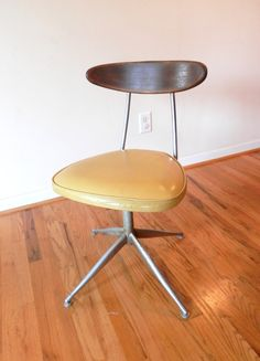 Mid Century Modern Swivel Chair - Yellow and Chrome Retro Chair by momsfavoriteshop on Etsy