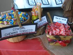 Sweet saloon candy bar for a western BBQ party