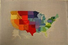 United States of America Chart and Canvas by Gail Sirna   Homestead Needlearts