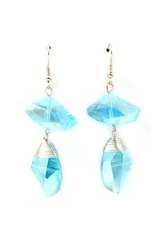 Sliced Crystal Riley Earrings in Dust Blue Vitrail