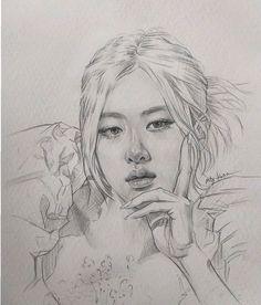 Cool Pencil Drawings, Pencil Sketch Drawing, Girl Drawing Sketches, Dark Art Drawings, Portrait Sketches, Art Drawings Sketches Simple, Realistic Drawings, Creative Sketches, Kpop Drawings