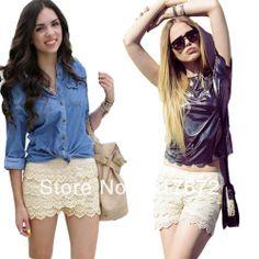 Plus size 3 color Korean Fashion Womens Sweet Cute Crochet Tiered Lace Shorts Skorts Short Pants  S M L XL XXL