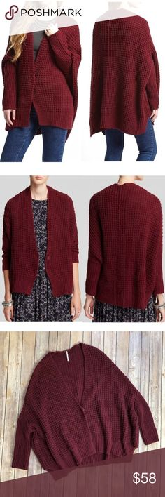 "FREE PEOPLE Waffle Knit Breeze Oversized Cardigan FREE PEOPLE Chunky Waffle Knit Angora Breeze Oversized Cardigan Rich Berry Small Armpit to armpit:39"" Length:35"" Retails for $128.00 Please see all pics for details!! Thank you Free People Sweaters Cardigans"