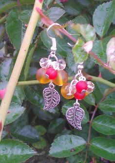red and orange cluster earrings