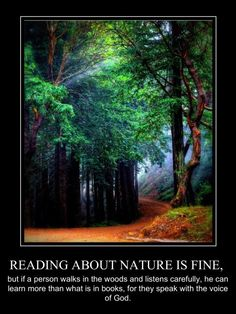 Reading about nature is fine, but . .   . . . if a person walks in the woods and listens carefully, he can learn more than what is in books, for they speak with the voice of God.     - George Washington Carver