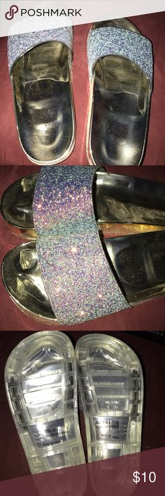 Slides Cute glitter sandals. Too cute wore for a few hours so practically new BAMBOO Shoes Sandals