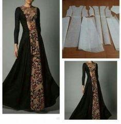 54 ideas sewing patterns dresses prom for 2019 Batik Fashion, Abaya Fashion, Fashion Dresses, Vestido Batik, Batik Dress, Abaya Pattern, Gown Pattern, Hijabi Gowns, Estilo Abaya