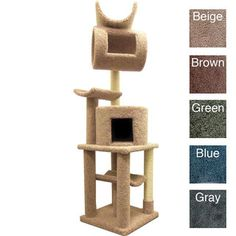 """@Overstock.com.com - New Cat Condos Cat Playstation - Solid Wood 72"""" Cat Condo - Give your cuddly kitty a place to use all that playful energy with this carpeted New Cat Condos play station. With three levels of carpeted leaping and hiding space, your cat is sure to adore this durable, wood-constructed mini playground.  http://www.overstock.com/Pet-Supplies/New-Cat-Condos-Cat-Playstation-Solid-Wood-72-Cat-Condo/6230209/product.html?CID=214117 $179.99"""