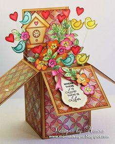 Pop Up Box Card - Voor wie de cursus 'Kaarten en kado-envelopjes maken' bij Marjolein Zweed Creatief heeft gedaan. Dit is ook een leuke variant op de doosjes-kaart.