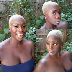 love fornt edges and line up natural looking and not boxy Short Grey Hair, Short Blonde, Short Hair Cuts, Blonde Hair, Short Hair Styles, Blonde Twa, Chocolate Blonde, Bald Hair, Twa Hair