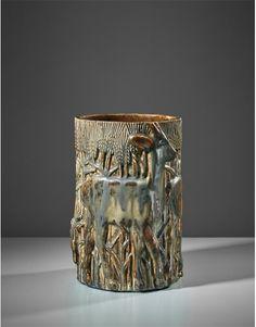 Axel Johann Salto - Rare 'Three Deers in a Cornfield' vase, designed executed 1930 Ceramic Pottery, Pottery Art, Ceramic Art, Royal Copenhagen, Handmade Pottery, Auction, Vase, Rustic, Danish
