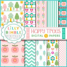 50% korting op HAPPY bomen digitale scrapbook door LillyBimble