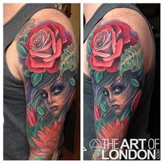 Mother Nature Rose Flowers Tattoo by London Reese