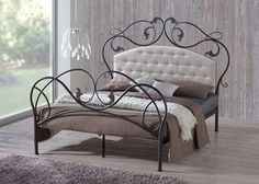 Baxton Studio Ariana Retro Modern Antique Bronze Finish Full Iron Metal Platform Base Bed Frame with Tufted Headboard