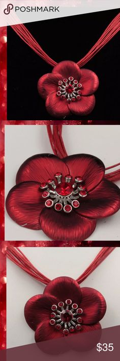 """JUST IN 🆕 Red Austrian Crystal Flower Pendant Brand Stunning Red Flower NecklaceOne of a kind design Color: RedMaterial: Quality Austrian crystal, enamel, silver plated necklace Size: necklace approx. 44 cm (17"""")with 7.0 cm Extender lengthpendant 5 cm (2"""") lengthweight: 50 g  ⭐️⭐️SORRY NO TRADES AND LOWBALL OFFERS WILL BE IGNORED ⭐️⭐️  ✂️LOWBALL OFFERS WILL BE IGNORED✂️ Glam Squad 2 You Jewelry Necklaces"""