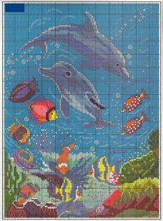 "GRAFICOS PUNTO DE CRUZ GRATIS : DELFINES(30) - click on chart - ""copy  image"" or ""Save image.""  You'll get a very readable chart  -- 2 pins total"