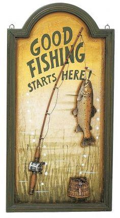 Good Fishing Starts Here Wood Sign
