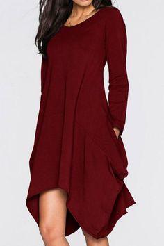 933bb09b05d47 Product Name Round Neck Asymmetric Hem Pocket Plain Shift  DressCollar neckline Round NeckSleeve Long SleeveSeason Autumn    SpringPackage Included Dress ...