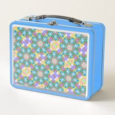 Abstract Blue Spring Flower Mandala Metal Lunch Box - kitchen gifts diy ideas decor special unique individual customized
