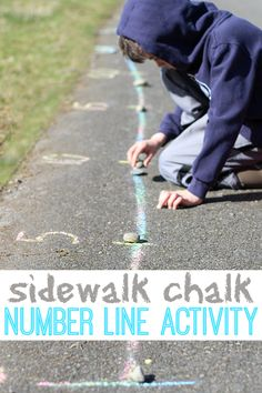 Sidewalk Chalk Number Line Activity: What a simple idea to have fun with math outside!