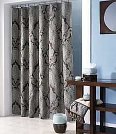 I Went Through 3 Shower Curtains Before Found This Amazing One Croscill Royalton Curtain Samantha Corcoran Blue Brown Bathroom