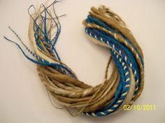 30 Synthetic Dreads Petrol Green Blonde DE Hair Extensions Dreadlock Kit or Falls. $40.00, via Etsy.