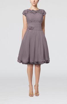 Coral Cinderella Scalloped Edge Short Sleeve Chiffon Knee Length Lace Bridesmaid Dresses - iFitDress.com