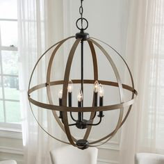 Sea Gull Lighting Calhoun 24 in. W Weathered Gray Rustic Farmhouse Orb Chandelier with Distressed Oak Globe Finish Accents - The Home Depot Orb Light, Light Bulb Bases, Orb Chandelier, Outdoor Chandelier, Chandeliers, Farmhouse Interior, Rustic Farmhouse, Farmhouse Style, Chandelier