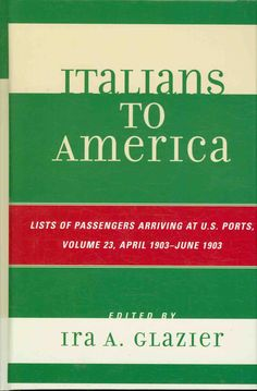Italians to America is the first indexed reference work devoted to Italian immigrants to the United States. This series contains passenger list information in chronological order on the first major wa