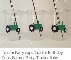 Tractor Birthday, Birthday Cup, Party Cups, Wine Glass, Tableware, Dinnerware, Dishes