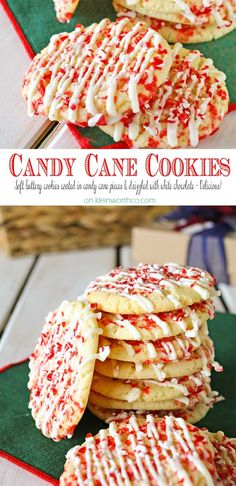 Candy Cane Cookies -Soft buttery cookies coated in crushed candy canes & drizzle. - Candy Cane Cookies -Soft buttery cookies coated in crushed candy canes & drizzled in white chocolat - Candy Cane Cookies, Holiday Cookies, Holiday Desserts, Holiday Baking, Holiday Treats, Holiday Recipes, Candy Canes, Recipes For Christmas, Sugar Cookies