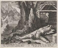 Johann Sadeler (I)   Heilige Meinradus van Einsiedeln als kluizenaar, Johann Sadeler (I), 1594   De H. Meinradus van Einsiedeln, een Duitse kluizenaar uit de negende eeuw na Christus. Hij ligt languit op de grond voor zijn kluis. Zijn attribuut, een tamme raaf, zit op het dak van zijn kluis. Op de achtergrond een berglandschap met in de verte de twee rovers die hem zullen vermoorden.