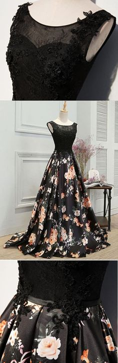 elegant black floral prom party dresses, formal evening gowns with appliques