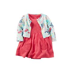 Baby Girl Carter's Crochet Lace Bodysuit Dress & Floral Cardigan Set, Size: 18 Months, Red