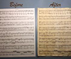 Here is my quick and easy method of giving paper that aged vintage look. Supplies: Sheet music (laser or toner printed on plain white copy paper) You can print the same music I used by downloading the attached file. Boiling water Tea bag (regular/black tea) Coffee mug Small plate Old hand towel Clipboard (optional) Drying Rack (optional)
