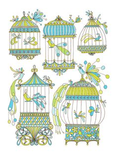 Bird Cages Limited Edition Screen Print 18x24 by jenskelley, $50.00