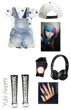 """Me As A Vocaloid"" by yuki-akemi ❤ liked on Polyvore featuring H&M, Converse, Beats by Dr. Dre and Leg Avenue"