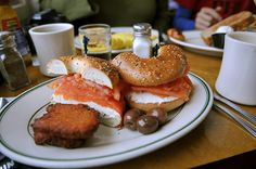 nova and bagels and potato pancakes from Famous 4th Street Deli (Philadelphia)... mmmm....
