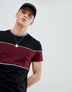 ASOS DESIGN t-shirt with contrast twisted jersey panels in black T Shirt Vest, T Shirt And Shorts, Outfits Casual, Mode Outfits, Rugby Outfits, Casual Wear For Men, Camisa Polo, Latest T Shirt, Tee Shirt Designs
